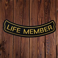 Fitted; 'LIFE MEMBER' Patch in Gold - LARGE