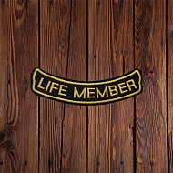 Fitted; 'LIFE MEMBER' Patch in Gold - SMALL