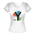 Rainbow Y Ladies White T-Shirt